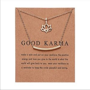 "Gold ""good karma"" necklace"